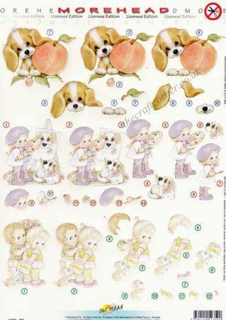 Morehead Girl Painting, A Puppy Dog & Children With A Present 3D Die Cut Decoupage Sheet